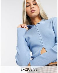 Collusion Cropped Cardigan With Double Ended Zip - Blue