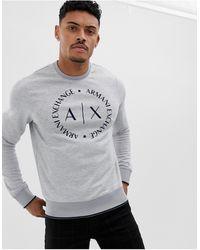 Armani Exchange – es Sweatshirt mit Rundhalsausschnitt und kreisförmigem Logo - Grau