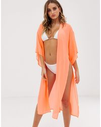 ASOS Tie Front Beach Kimono - Orange