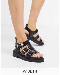 ASOS Wide Fit Fallon Chunky Buckle Flat Sandal - Black