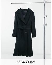 ASOS Asos Design Curve Belted Maxi Coat - Black
