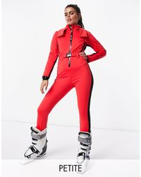 ASOS 4505 Petite Ski Fitted Belted Ski Suit With Hood And Side Stripe - Red