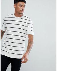 ASOS - Textured Stripe T-shirt In White - Lyst