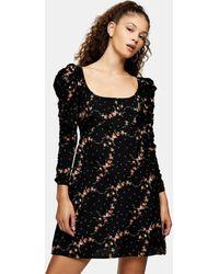 TOPSHOP Ruched Sleeve Mini Tea Dress - Black