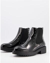 Miss Selfridge Черные Ботинки-челси На Плоской Подошве С Заклепками -черный