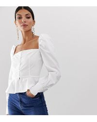 Missguided Square Neck Peplum Top In White