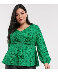 Simply Be Tie Front Blouse - Green