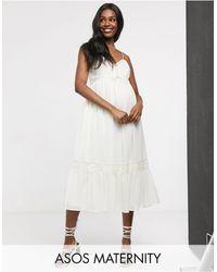 ASOS ASOS DESIGN Maternity - Vestito midi con spalline sottili bottoni e inserti - Bianco