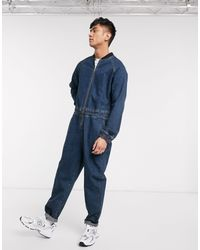 ASOS Relaxed Denim Jumpsuit With Bomber Neck - Blue