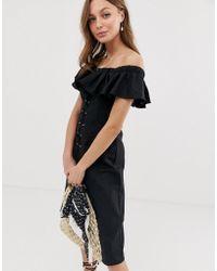 2695d91c038 ASOS Linen Button Through Wrap Mini Sundress in Black - Lyst