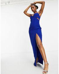Vesper Платье Макси Кобальтового Цвета С Вырезом И Бретельками -синий