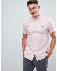 Lyle & Scott Button Down Short Sleeve Oxford Shirt In Pale Pink