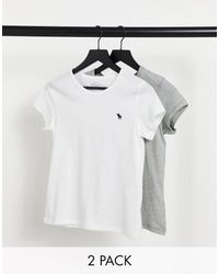 Abercrombie & Fitch 2 Pack Short Sleeve Icon Crew Tee - Multicolour