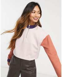 Native Youth Colourblock Half Zip Crop Top - Multicolour