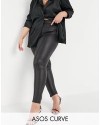 ASOS Asos Design Curve Leather Look legging With Pintuck - Black