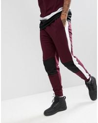 ASOS - Slim Joggers In Burgundy With Airtex Mesh Panelling - Lyst