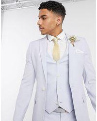 ASOS Wedding - Giacca da abito super skinny lilla con tratteggio incrociato - Viola