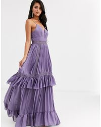 True Decadence Cami Strap Tiered Maxi Dress With Tie Front In Mauve - Purple