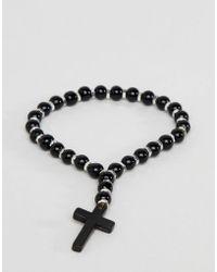 ASOS - Design Beaded Bracelet With Cross In Black - Lyst