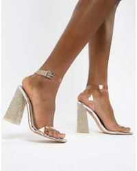 d2cfcefcf07d9 Public Desire Sparra Gold Barely There Heeled Sandals in Gray - Lyst