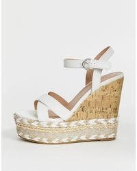 New Look Cork And Espadrille Wedges - White