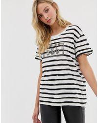 Sass & Bide T-shirt riciclata a righe con logo - Bianco