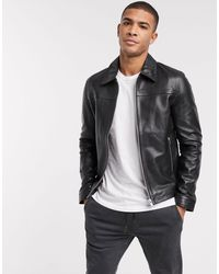 Barneys Originals Barney's Originals Leather Jacket With Collar Detail And Silver Trims - Black
