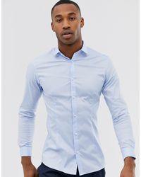 Jack & Jones Голубая Эластичная Рубашка Зауженного Кроя Premium-голубой - Синий