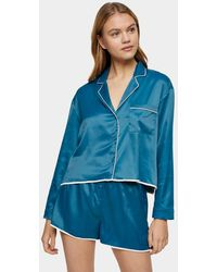 TOPSHOP Satin Pyjama Short Set - Blue