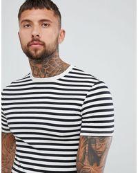ASOS T-shirt attillata a righe nere e bianche - Nero