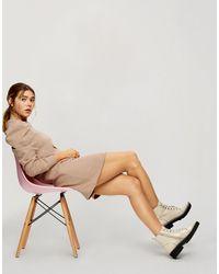 Miss Selfridge - Бежевое Платье-свитшот С Пышными Рукавами -коричневый Цвет - Lyst