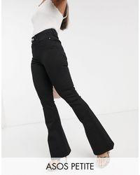 "ASOS - ASOS DESIGN Petite ""Sculpt me"" - Jeans a zampa nero pulito - Lyst"