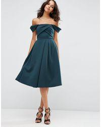 ASOS Платье Для Выпускного С Вырезом Лодочкой И Складками Asos-зеленый