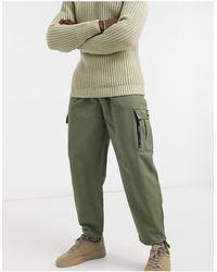 Bershka Cuffed Cargo Trousers - Green