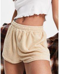 Fashionkilla Towelling Runner Shorts - Natural