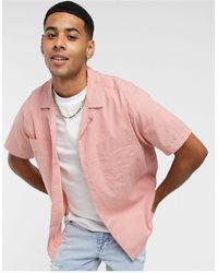 TOPMAN Short Sleeve Linen Shirt With Revere Collar - Pink