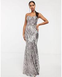 Club L London Платье-бандо Макси С Отделкой Пайетками В Стиле Барокко -серебряный - Металлик