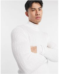ASOS Knitted Cable Roll Neck Jumper - White