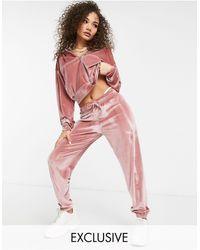 Fashionkilla Exclusive Velour Trackie Co-ord - Pink