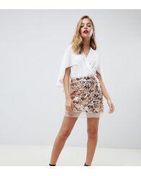 Boohoo Exclusive Petite Sequin Mini Skirt In Gold - Pink