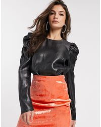 Warehouse Puff Sleeve Shimmer Top - Black