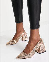 ASOS Sydney - Chaussures à bride arrière et talon mi-haut - Irisé - Noir
