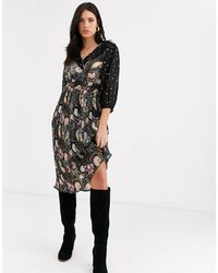 Vero Moda Midi Dress With Ruffle Detail - Black