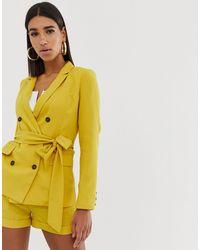 Fashion Union Двубортный Блейзер С Поясом-завязкой (из Комплекта) -желтый