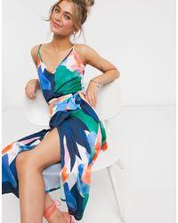 Never Fully Dressed Top con spalline sottili e stampa geometrica a contrasto - Blu