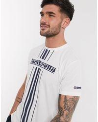 Lambretta T-shirt avec logo et rayures - Multicolore - Blanc