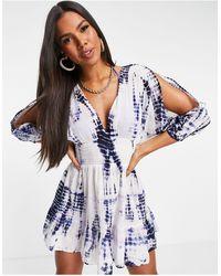 South Beach Платье С Синим Принтом Тай-дай И Объемными Рукавами -голубой - Синий