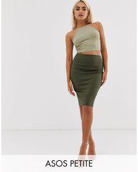 ASOS Asos Design Petite High Waisted Pencil Skirt - Natural
