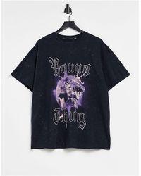 """Mennace Черная Oversized-футболка С Принтом """"young Thug"""" -черный Цвет"""
