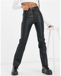 ASOS – Hose in mit geradem Schnitt aus Kunstleder mit mittelhohem Bund im Stil der 90er - Schwarz